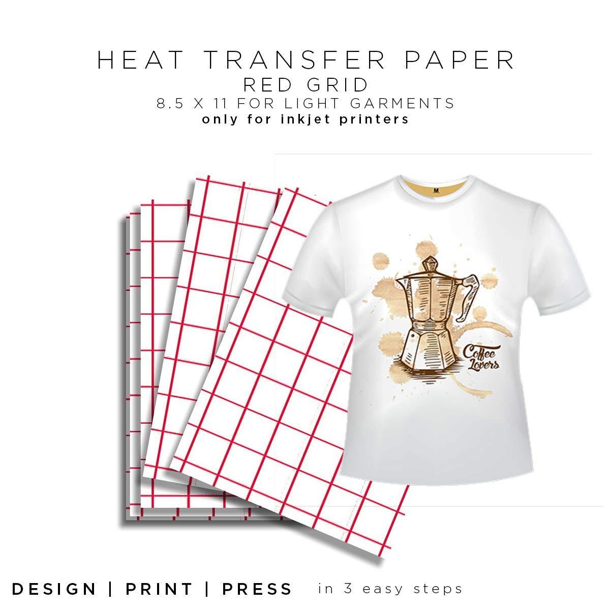 Rojo rejilla para blancos papel de transferencia de calor - 8,5 x ...