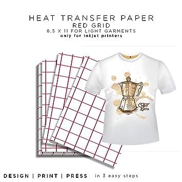 Rojo rejilla para blancos papel de transferencia de calor - 8,5 x 11 (50 hojas), Modelo:, oficina/escuela suministro tienda: Amazon.es: Oficina y papelería