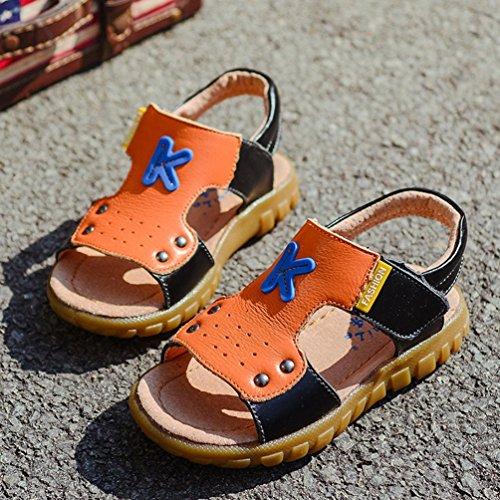 CHENGYANG Unisex Kinder Sommer Outdoor Open Toe Sandalen - Weiche Sohle Strand Sandalen Schuhe Schwarz Orange