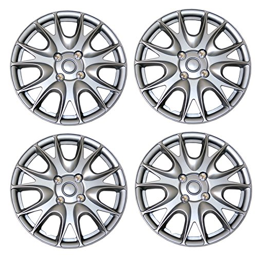 TuningPros WSC3-533S15 4pcs Set Snap-On Type (Pop-On) 15-Inches Metallic Silver Hubcaps Wheel ()