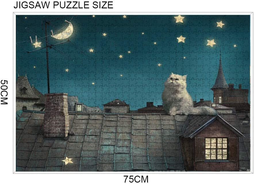Jigsaw Puzzles 1000 Pieces for Adult /& Kids Hand Made Puzzles Personalized Gift Interesting Intellective Educational Toys Animal Series Cat on The Roof