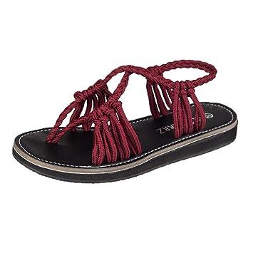 Diadia Sandalias de Verano Zapatillas Zapatillas Moda Playa Zapatos, Wine, UK:2.5/EU:34: Amazon.es: Deportes y aire libre