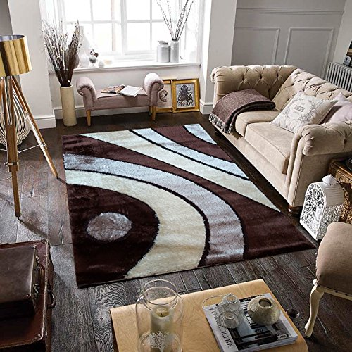 Gloria Rug Super Soft Living Room Rug 8x10 Stain Resistant Area Rug For Living Room Dining Room or Bedroom - Shaggy Area Rug (8 x 10, Brown Curves Design 1032)