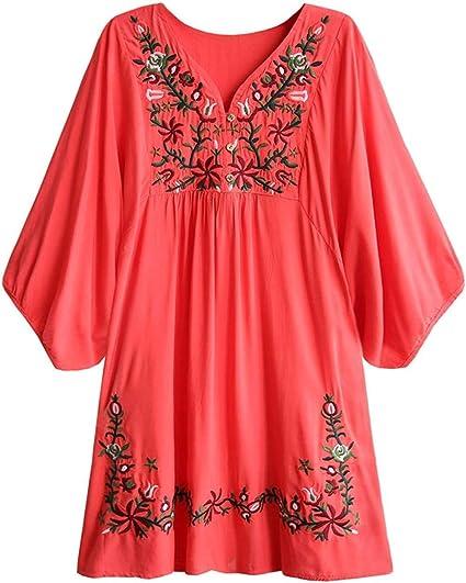 SZZ0306 Blusa de Mujer Boho Hippie Flores Bordadas Vestido de ...