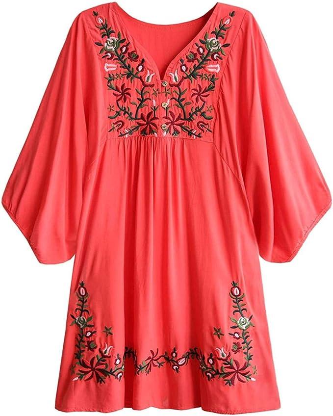 SZZ0306 Blusa de Mujer Boho Hippie Flores Bordadas Vestido de Blusa Mexicana Vestido de Verano Blusa de túnica de Bordado Bohemio-Sandía A8_L: Amazon.es: Hogar
