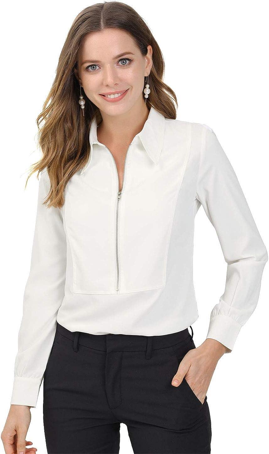Allegra K Women's Zip Front Blouse Long Sleeve Solid Color Office Work Top