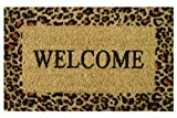 Iron Gate - Welcome Cheetah - Printed Coco Doormat - Heavy Duty Outdoor Premium Coir Mat - 1/2 Inches Thick - Extremely durable - Traps dust - Welcome your guests with this doormat