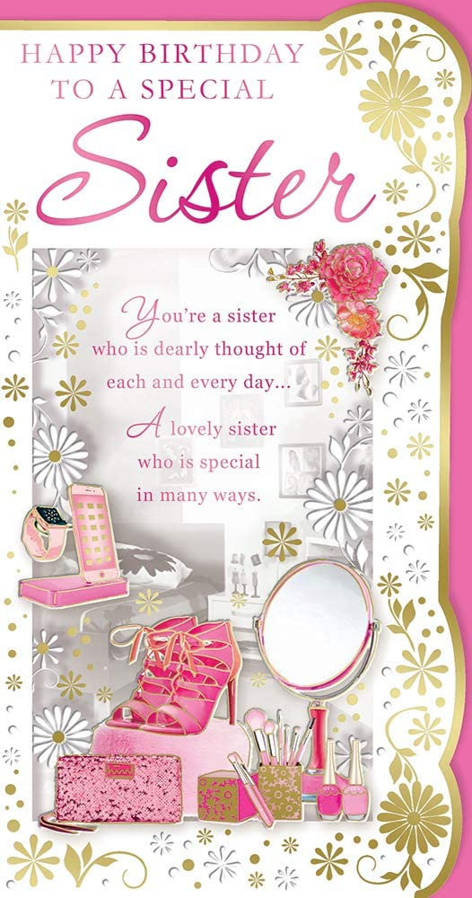 Cards Galore Online Sister Birthday Card Pink High Heels Mobile Phone Make Up Roses 9 X 4 75 Amazon Co Uk Kitchen Home