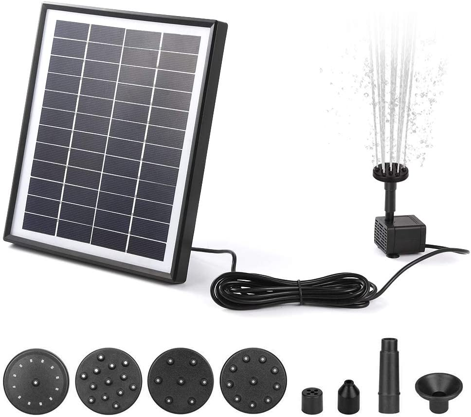 Bomba Solar para Estanque Flotante 6.5W con 6 Boquillas,12V Fuente de Agua de Decoracion,500L//H,del Agua Rociada hasta 90cm de Altura,para Jard/íN Piscinas,Negro