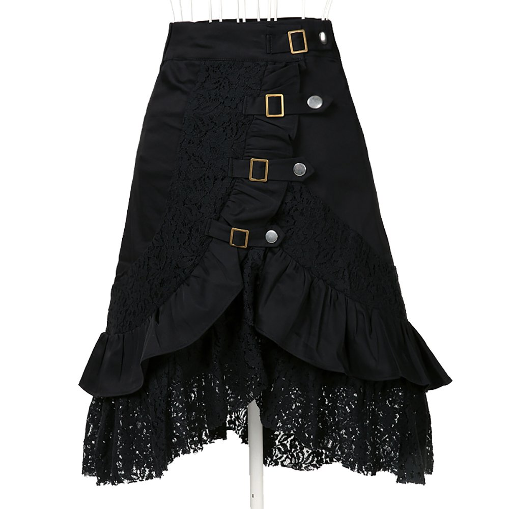 Women's Steampunk Gothic Clothing Vintage Cotton Lace Skirts Black Gypsy Hippie Candow?Clothing
