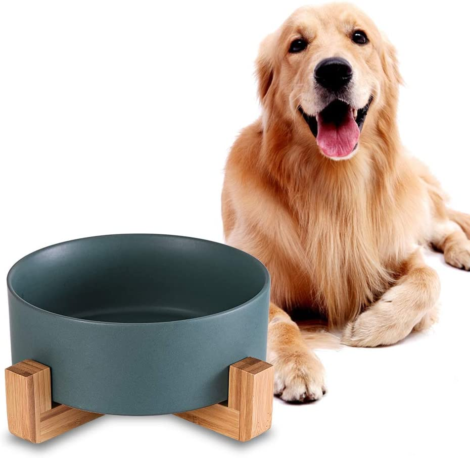 Green Ceramic Dog Bowls with Wood Stand, Dog Water Bowls and Food Dish, Heavy Weighted or No Tip Over Dog Comfort Food Bowls, Stoneware Pet Bowl,Extra High Capacity 8.4