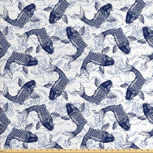 Ambesonne Fish Fabric The Yard, Japanese Carp Koi Wave Patterned Background Ancestral Animals Asian Culture, Decorative Fabric Upholstery Home Accents, 1 Yard, Dark Blue White