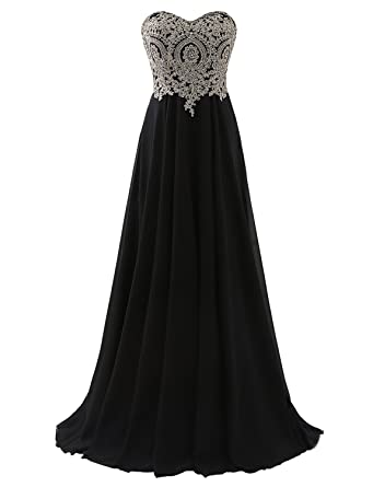 f80f2808bb6 Erosebridal Floor Length Strapless Prom Dress with Gold Embroidery Black US  2