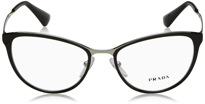 26c26063c95cd Amazon.com  Prada CINEMA PR55TV Eyeglass Frames 1AB1O1-52 - Black Silver  PR55TV-1AB1O1-52  Clothing
