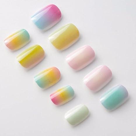 40 unidades de uñas postizas de colores arcoíris para niños con pegamento en puntas de uñas falsas para kits de niñas pequeñas: Amazon.es: Belleza