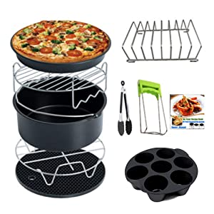 Air Fryer Accessories 7 Inch Set for 3.7, 5.3, 5.5, 5.8 QT Deep Fryer 10 Pieces for Gowise Phillips and Cozyna Air Fryer with Non-Stick Coating (Black, 7Inch)