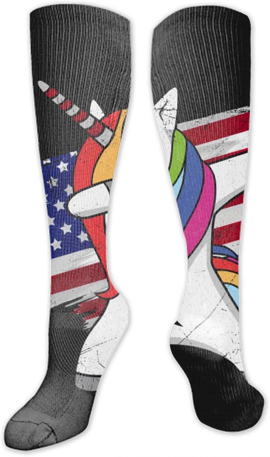 nadoab Women Socks American Flag Deer Knit Over Stockings Girls Tall Long Boot Leg Warmers