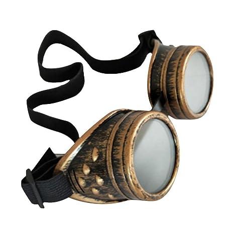 RONDAA Gafas de Montar Retro Vintage Victorian Steampunk Gafas Protección oculares Soldadura Cyberpunk gótico Cosplays