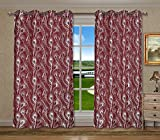 Cheap CaliTime Pack of 2, Grommets Window Curtains Panels for Bedroom, Each Panel 55 X 84 Inches, Total 110 X 84 Inches, Modern Peacock Feathers, Burgundy