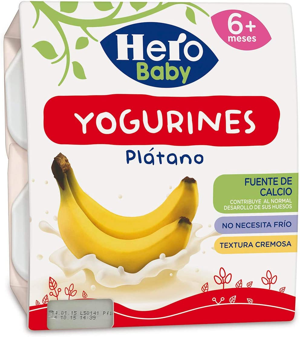 Hero Baby Yogurines Tarrinas de Yogur de Plátano para Bebés a partir de 6 meses Pack de 6 de 4x100 g: Amazon.es: Alimentación y bebidas