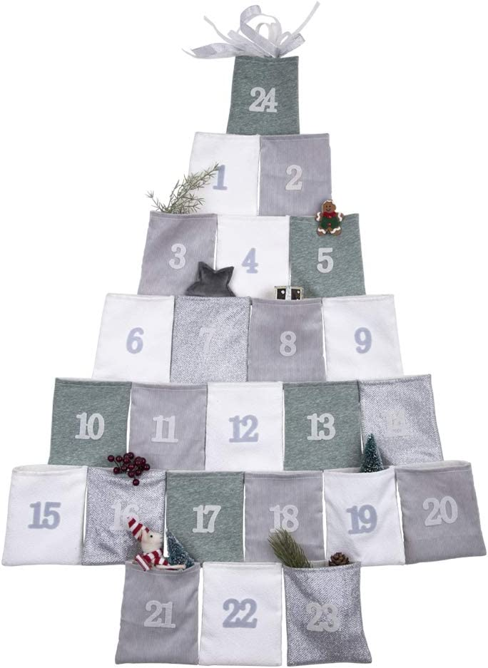 MYH DECO Hanging Christmas Advent Calendar with Pockets, 2020 Countdown to Christmas Wall Hanging Advent Calendar with 24 Pockets for Christmas Decorations (Green&White)