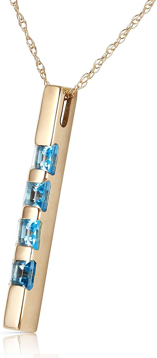 ALARRI 0.35 Carat 14K Solid Gold Necklace Bar Natural Blue Topaz with 22 Inch Chain Length