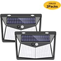 208LED Solar Sensor Light Wall Lamp Outdoor Security Lights, IP65 Waterproof Night Lamp with 270°Wide Angle and 3 Modes Motion Sensor for Swimming Pool, Garage, Porch, Front Door, Garden, Yard(2 Packs)