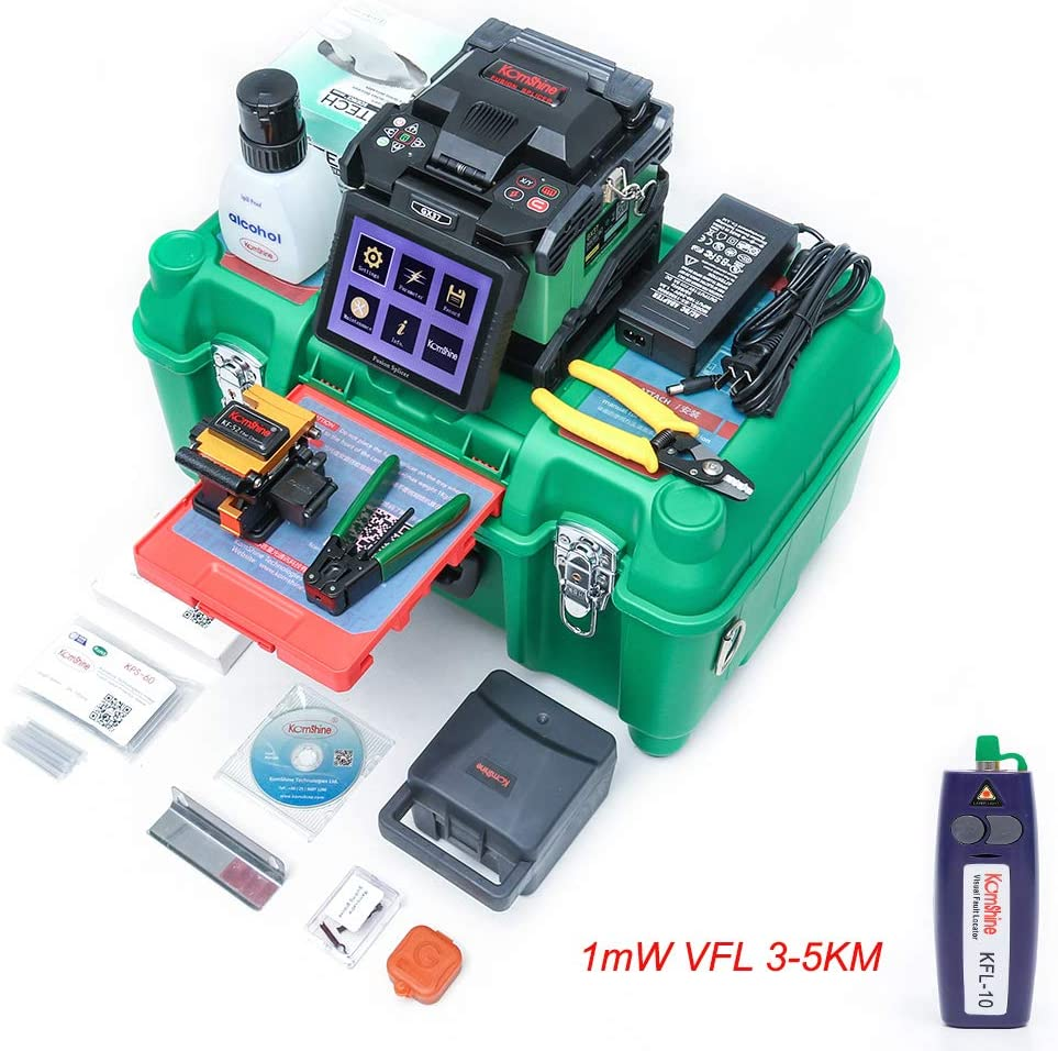 Automatic Intelligent Fiber Optical Fusion Splicer Machine GX37 with Fiber Sleeves 100 pcs and Precision Oven