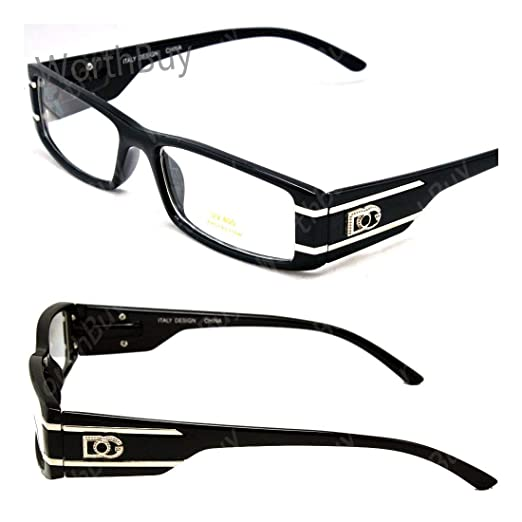 3dedec1f9b Amazon.com  DG Eyewear Clear Lens Eye Glasses Fashion Designer Mens Womens  Small Frame  Clothing
