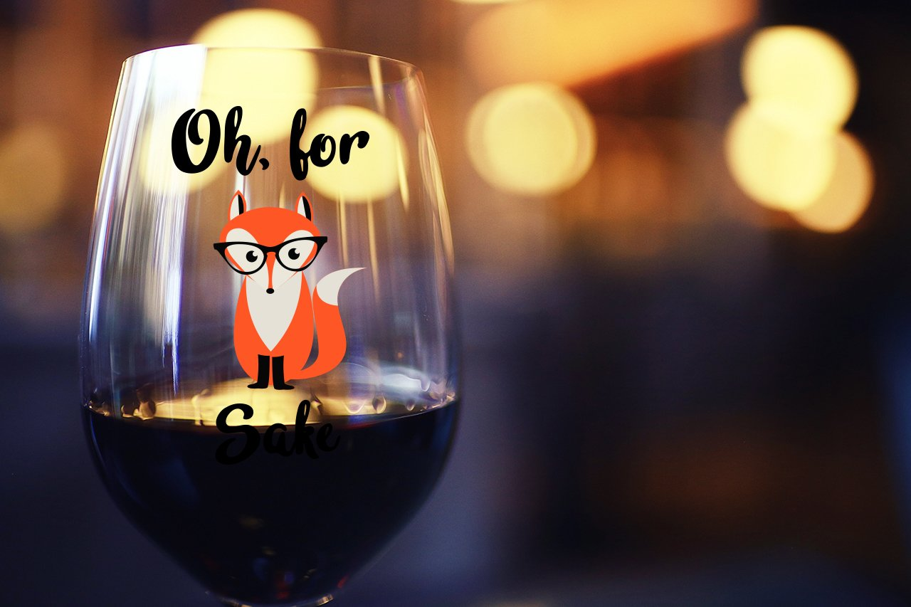 Oh, For Fox Sake 15 oz Stemless Funny Wine Glass | Unique Fox Themed Birthday Gifts For Men or Women | Fox Lover Gifts For Him or Her Idea For Office Coworker and Best Friend by Gelid (Image #3)