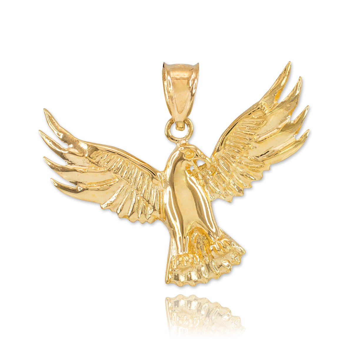 Fine 14k Yellow Gold Firebird Charm Phoenix Necklace Pendant