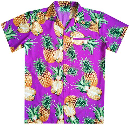 - Mens Hawaiian Shirt Button Down Funky Beach Party Cut Pineapple Purple 3XL