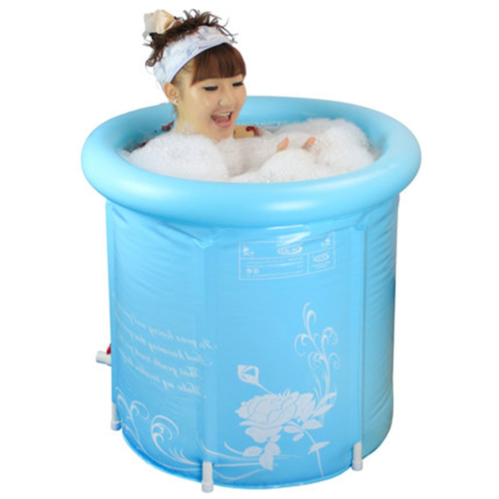 Bathtubs Freestanding Adult Folding Free Inflatable Bucket Home Fill Children's Plastic (Color : Blue, Size : 6570cm)