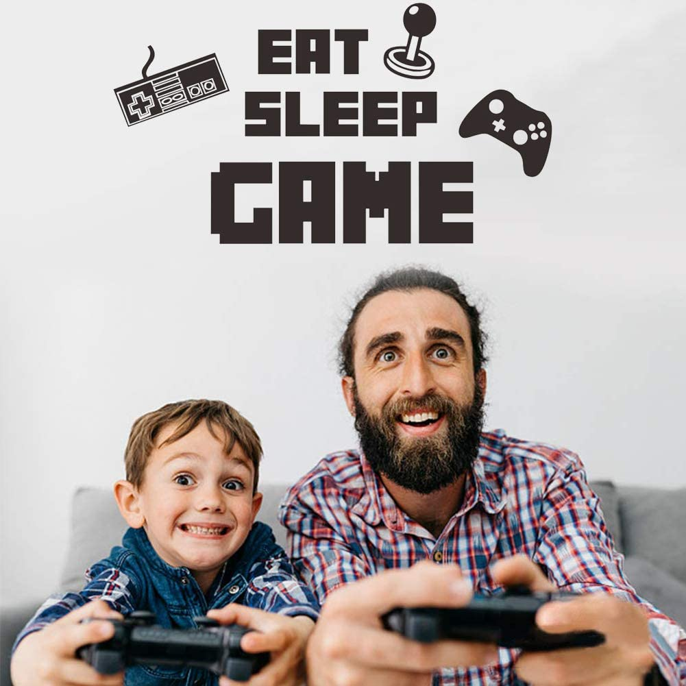 Poorminer Eat Sleep Game Wall Decal, Video Gamer Boy Wall Sticker, Game Controllers Vinyl Poster Lettering DIY Art Murals Joystick Quote Wallpaper for Boys Kids Living Room Bedroom Playroom Home Decor