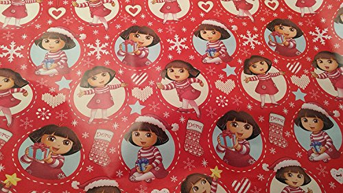 Christmas Wrapping Red Dora Holiday Paper Gift Greetings 1 Roll Design Festive Wrap the (Dora The Explorer Princess Halloween Costume)