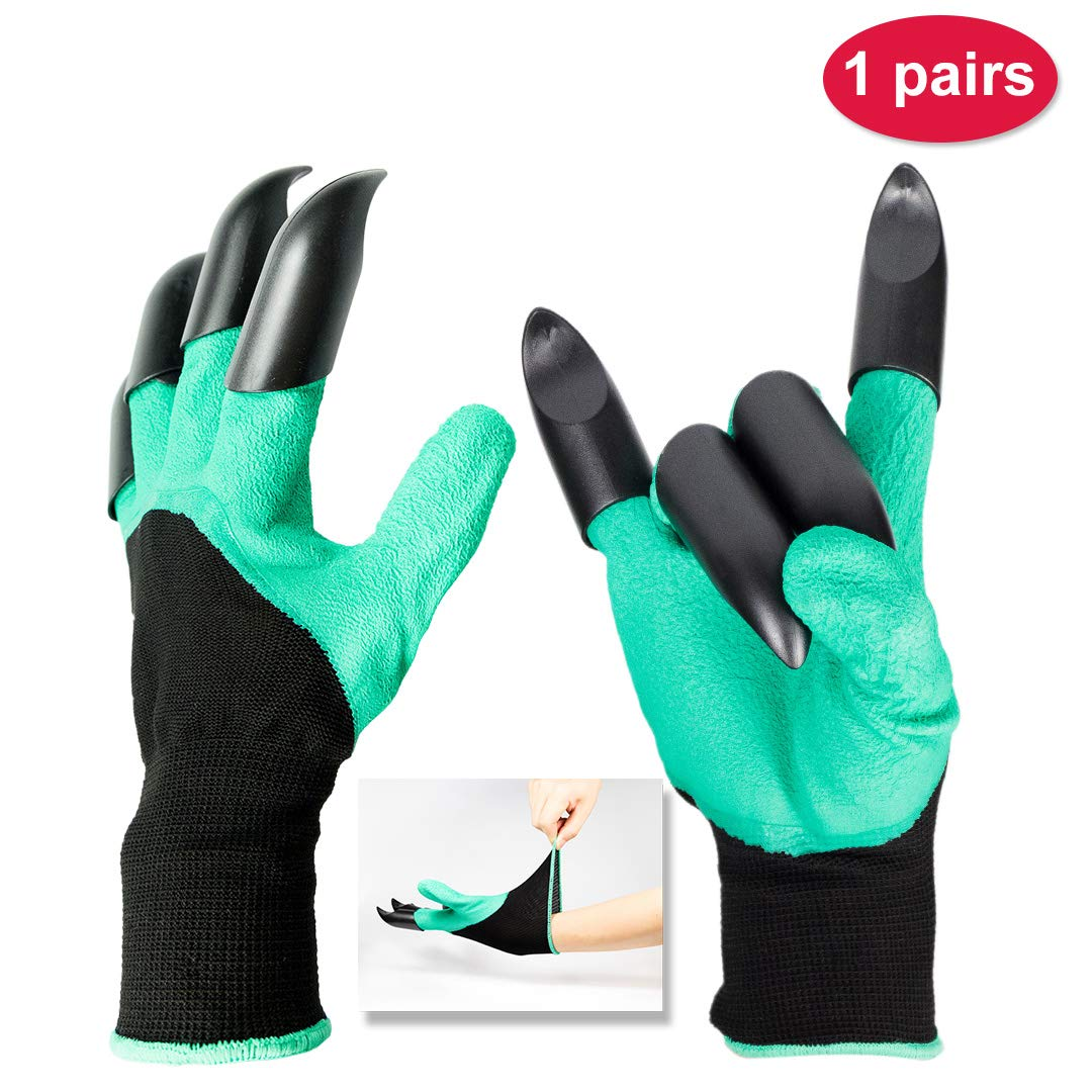Gardening Gloves With Claws, Textured Rubber Latex Coated Grip Work Gloves Best Digging Garden Tools For Women Men Green Black 1 Pair