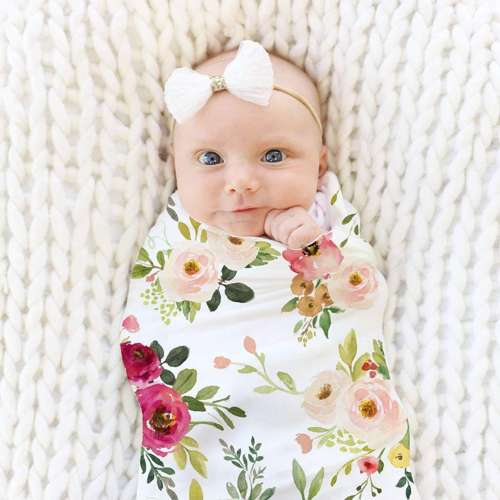 Tandou Muslin Baby Soft Cotton Swaddle Blanket Newborn 80/×80cm Green Leaf
