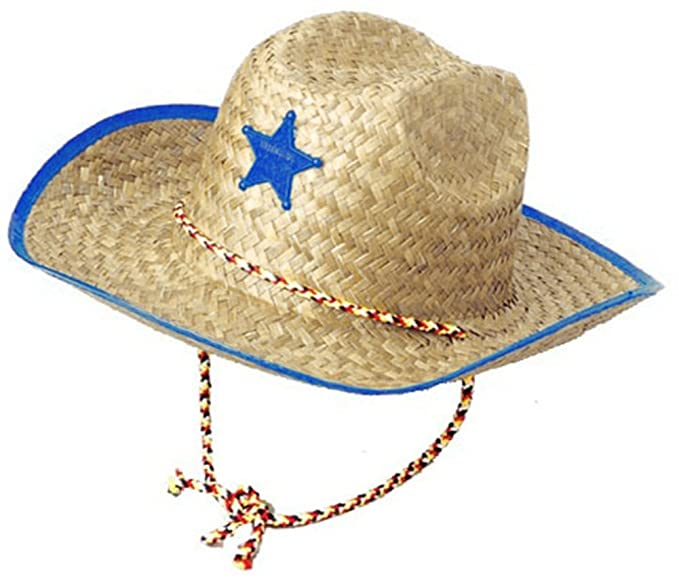 6bb251626 Boys Kids Straw Cowboy Hat With Blue Star Sheriff Badge