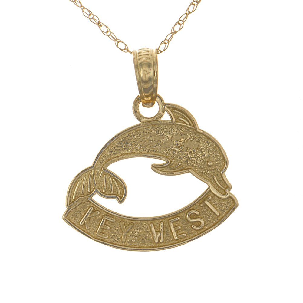 14k Yellow Gold Travel Necklace Charm Pendant with Chain, Key West Banner Under Dolphin Textured