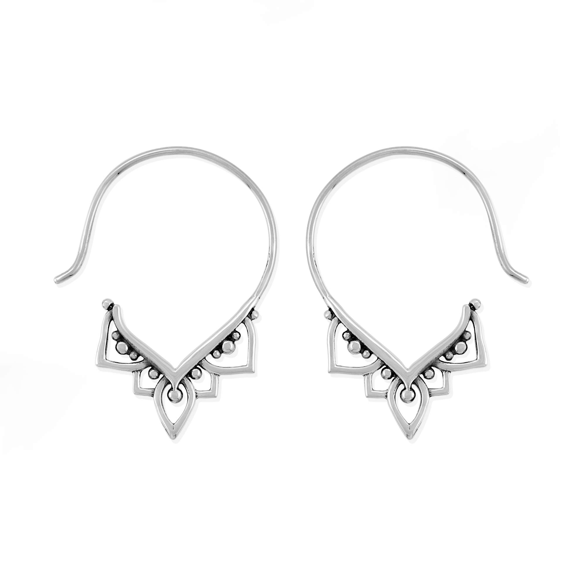 Boma Jewelry Sterling Silver Balinese Tribal Boho Pull Through Hoop Earrings by Boma