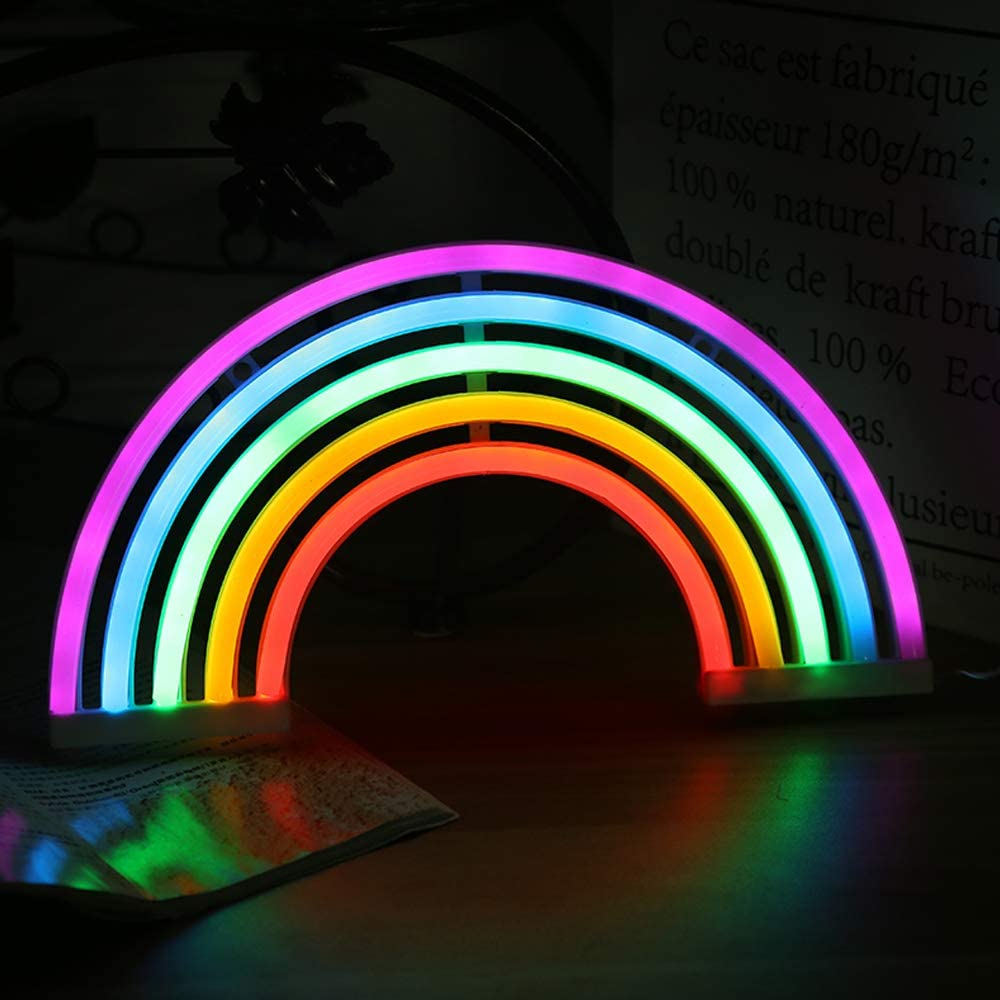 Chi-Buy Rainbow LED Neon Sign, Wall Hanging Neon Lights USB & Battery Powered, Neon Signs for Home Wedding Christmas Birthday Party Children's Bedroom Decoration Kids Night Light Gift