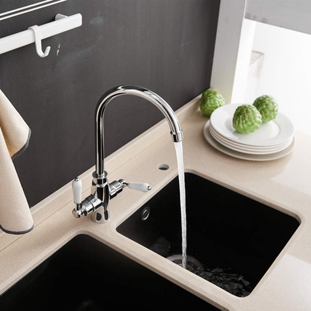 FZHLR Double Handle Kitchen Sink Faucet Kitchen Mixer Double Handle Chrome Kitchen Faucet Sink Mixer Tap Bathroom Faucet Tap 360 Degree Swivel