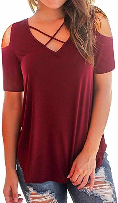 OHQ Camiseta De Mujeres Camiseta De Manga Corta con Cuello En V Y Hombros Descubiertos Camisetas De Manga Corta para Mujer Tops Camisetas De Manga Larga Blusa CóModo Y Elegante (S, Rojo):