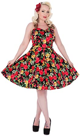 09a60065ba1ad4 Dolly And Dotty Womens Audrey Floral Halterneck Jive Dress Vintage  XXX-Large: Amazon.co.uk: Clothing