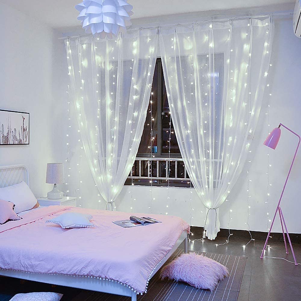 Warm White,7.9Ft x 5.9Ft YEOLEH String Lights Curtain,USB Powered Fairy  Curtain Lights for Christmas Bedroom Wall,IP64 Waterproof Ideal for Outdoor  Garden Decorations, Outdoor String Lights