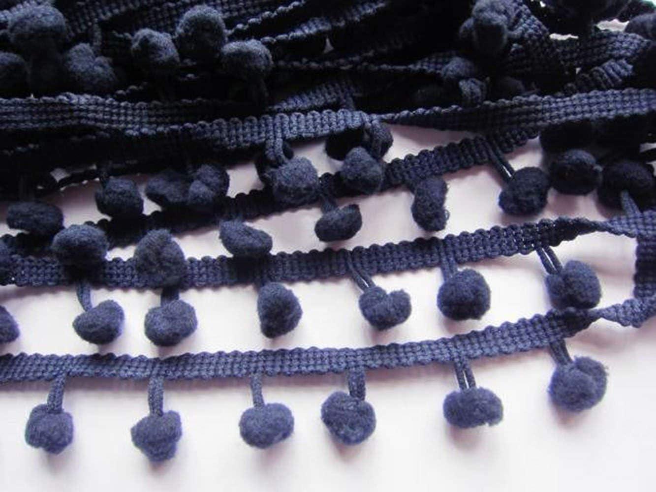 pom size 10mm Franja decorativa para coser de YCRAFT coral flecos con pompones lazo bolas que cuelgan de 91 cm