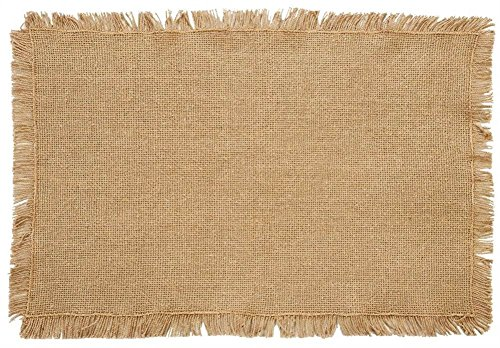 Burlap Natural Placemat Set of 6 Fringed 12x18