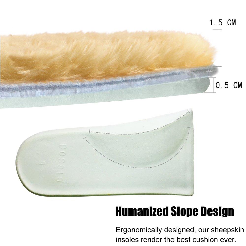 ABUSA Genuine Sheepskin Insoles Men's Premium Think Wool Fur Fleece Inserts Cozy & Fluffy 12 by ABUSA (Image #5)