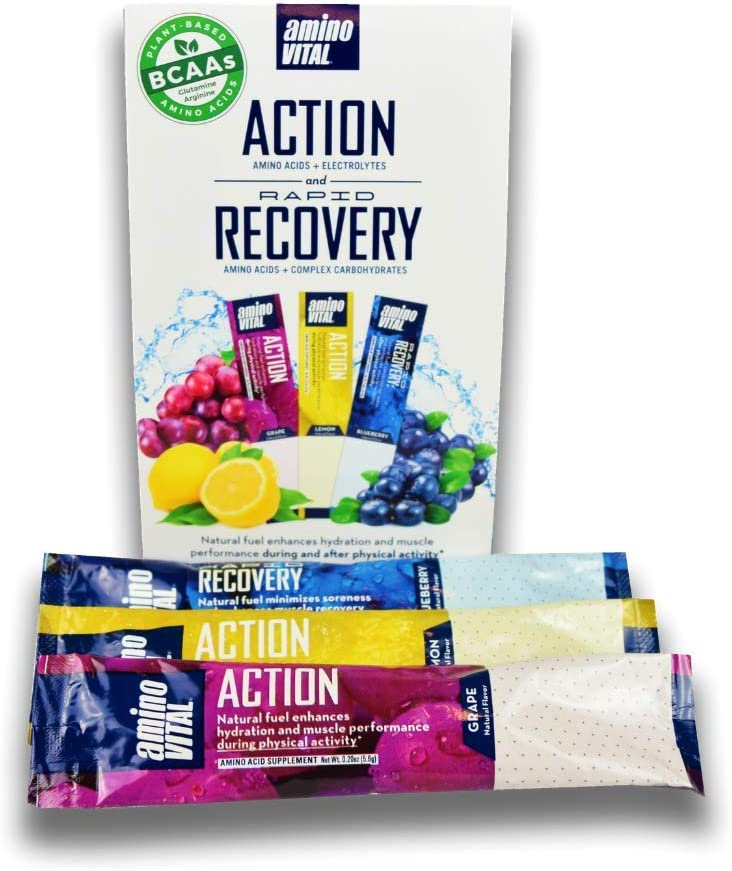 aminoVITAL Action Rapid Recovery Sample Pack Vegan BCAA for Energy Recovery Single Serve Packets pre and Post Workout