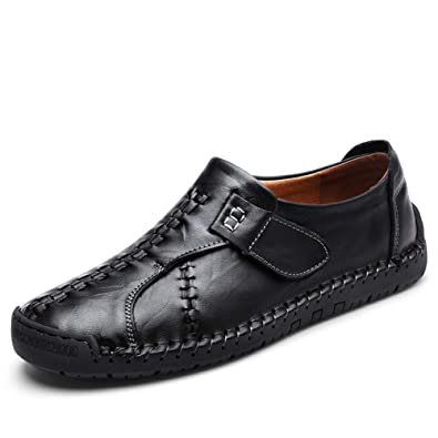 107ce73f7de Men s Leather Causal Loafers Shoes Slip on Handmade Flats Classic  Comfortable Oxford Boat Walking Shoes Black